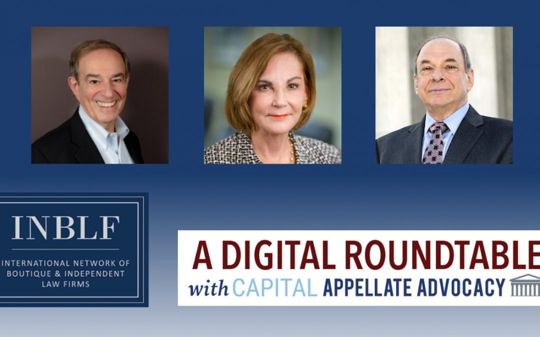 INBLF digital roundtable graphic header featuring Nancie Marzulla Arnie Lutzker Larry Ebner