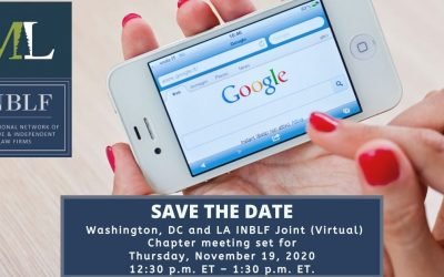 Save the Date! Washington, DC and LA INBLF Joint (Virtual) Chapter meeting set for Thursday, November 19, 2020 at 12:30 p.m. ET – 1:30 p.m. ET.