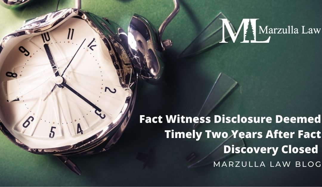 Fact Witness Disclosure Deemed Timely Two Years After Fact Discovery Closed